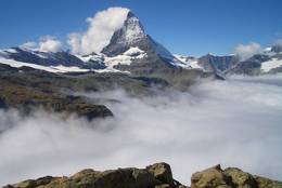 Matterhorn in contrast to the clouds