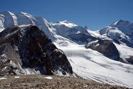 View on Piz Palue, Bellavista, Crast' Agüzza and Piz Bernina