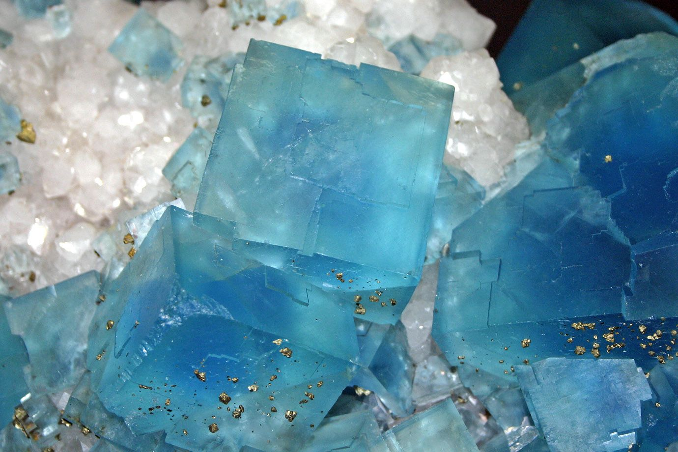 Fluorite (blue) with pyrite (golden)