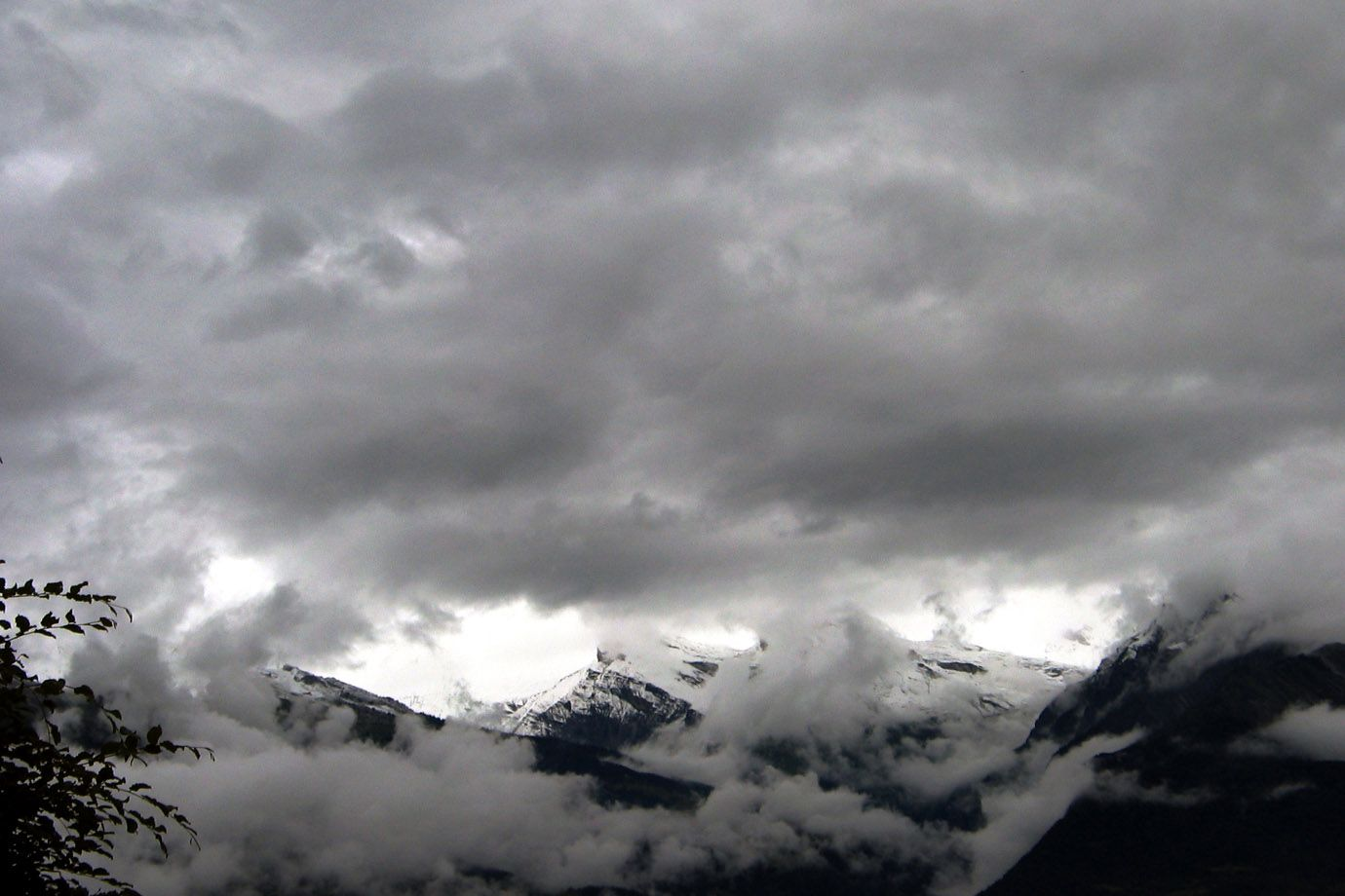 Snow clouds in the Alps in August 2007