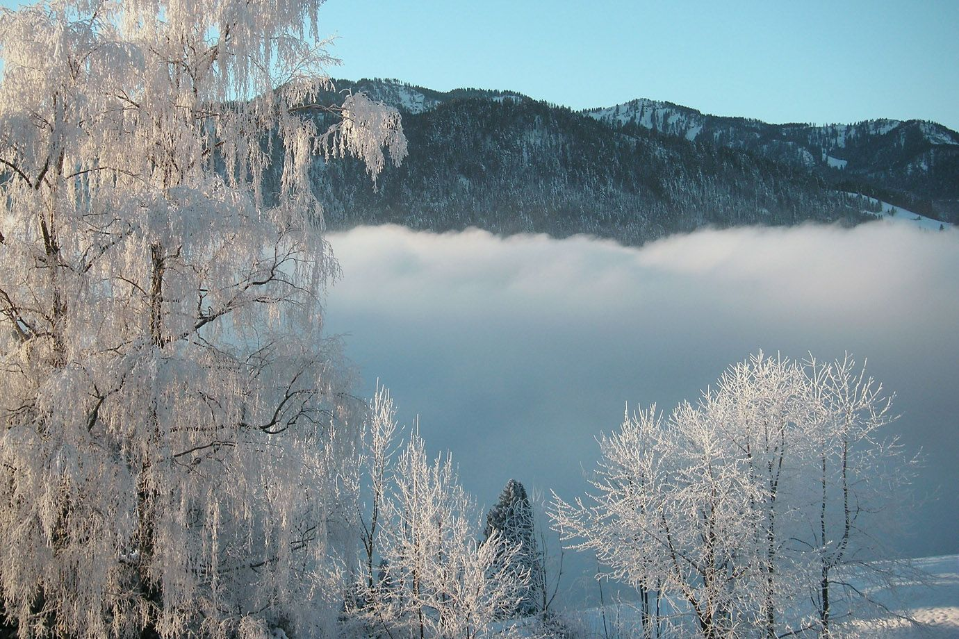 The winter morning transforms the mountain landscape